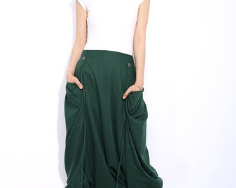Linen Harem Pants - Emerald Green Baggy Trousers Casual Comfortable Cropped Yoga Pants with Elasticated Waist C317