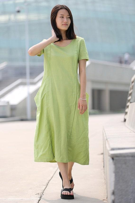 Loose-Fitting Linen Dress - Casual Everyday Mint Green Midi Length Handmade Kaftan Style Tunic Dress - Plus Sizes Available C261