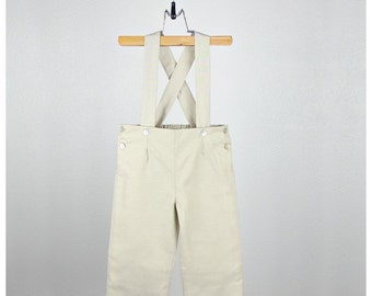 Baby Boy Pants Overalls -  Beige light oxford cotton blend pants overalls - Other colors available