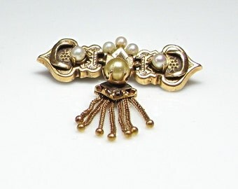Victorian 14K Yellow Gold Brooch Pin with Pearls - Dangling Brooch - Weight 5.9 Grams # 3021