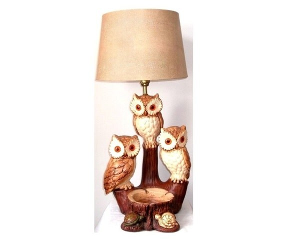 Reserved Josh Vintage Owl Lamp Branches Turtle By
