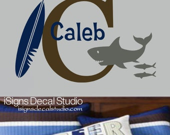 Personalized Shark Wall Decal - Surf Board Wall Decal - Boys Bedroom Decal - Surf Wall Decal - Initial Name Decal - Wall Art
