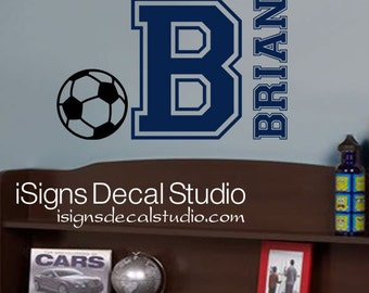 SOCCER WALL DECAL - Custom Name Decal - Kids Soccer Decal - Varsity Name Decal - Soccer Decal - Sports Wall Decal