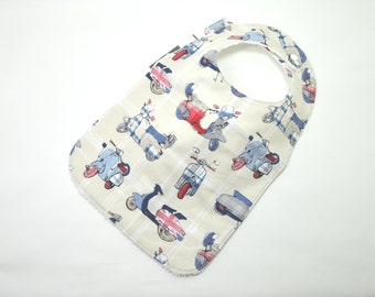 "Toddler Bib 10""x 17"" / 1yr-3+ yrs /vespa bib, scooter bib, british bib, Toddler Bib, 100% cotton"
