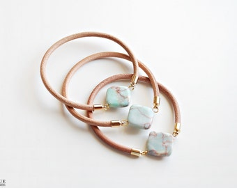 Leather bangle - Mint Marble stone bracelet