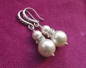 Pearl wedding earrings, Crystal and Pearl Bridal earrings, Bridesmaid earrings, Pearl drop earrings, Bridal Jewelry, Bridal earings