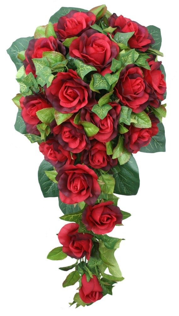Red Silk Rose Cascade Bridal Wedding Bouquet