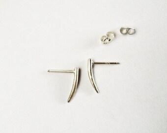 silver fang studs //  sterling silver post earrings