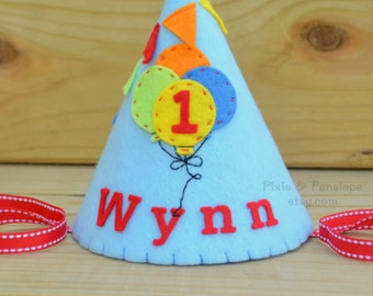 Felt Party Hat, Boy, Balloons, Pennants, First Birthday, Personalized