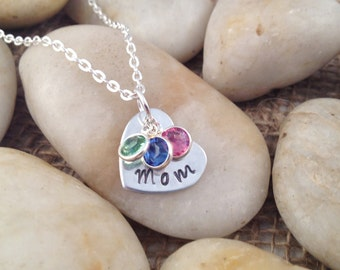 Hand-Stamped Mom Heart Necklace with Swarovski Birthstones - Mother's Day Gift