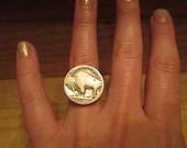 Buffalo Ring, Buffalo Nickel, Coin Ring, Coin Jewelry, Five Cents, Adjustable, Buffalo NY, Buffalo, Local Pride