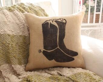 Burlap Pillow Cowboy Boots