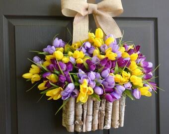 spring wreath summer wreath front door wreaths tulips yellow purple lavender birch bark vase, front door decorations, Mother's