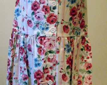 Girls Jumper/Sun Dress - Ivory with Dusty Rose Floral Lines - Size 6X