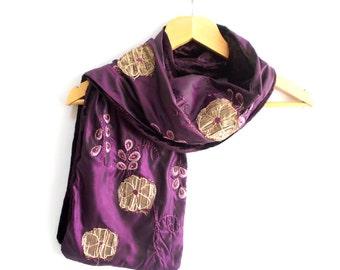 Purple Velvet Shawl, Satin scarf, Velvet stole, Long shawl, Rectangle, fabric scarf, Cross stich shawl, Double-sided shawl