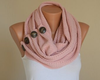 Knit lace scarf-Pale pink knit lace button scarf-Neck warmer-Christmas gifts-Infinity scarf-Women scarves-Gifts for her-Birthday gifts