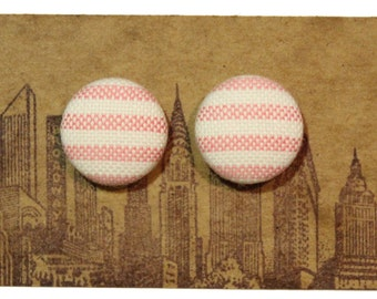 Fabric Button Earrings / Wholesale Jewelry / Striped / Stud Earrings / Bridesmaid Favors / Gifts for Her / Pink and White Earrings