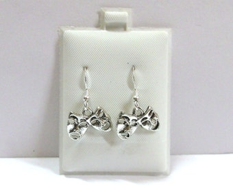 Silver Plated Pewter Comedy/Tragedy Mask Charms on Sterling Silver French Hook Dangle Earrings-1793