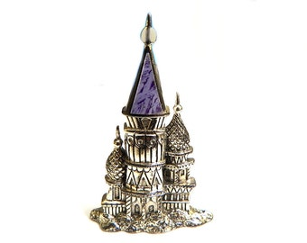 Sterling Castle Brooch Fantasy Fairytale Princess Jewelry Sterling Silver Castle Pin Signed Silver Cloud Sterling Silver Purple Enamel