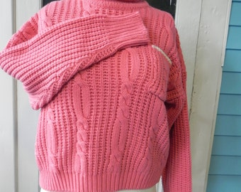 1980's Cropped Salmon Cable Knit Sweater