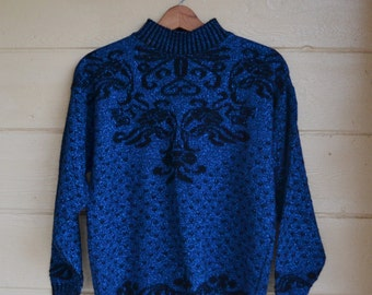Vintage Pullover Sweater 80s Sweater Blue and Black Sweater Slouchy Oversized Sweater