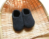 MANI - Baby slippers in pure cotton - black - 0/3 months - other sizes and colors made to order - free shipping worldwide