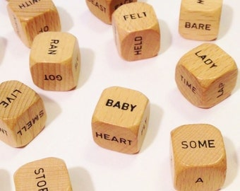 Scrabble Sentence Game - 21 Cubes (Dice) with Black Words