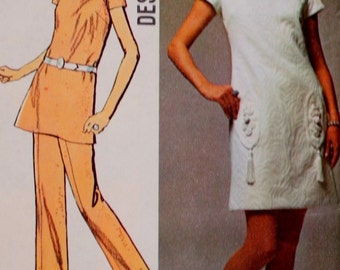 Dress or Tunic with Pants Vintage Sewing Pattern Simplicity 8679 Bust 36 1970S