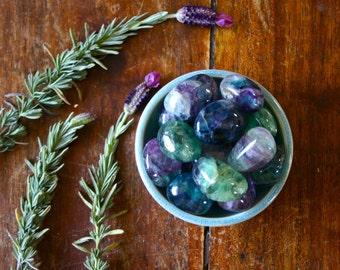 Large Tumbled Rainbow Fluorite Gemstone Purple Green Blue Pocket Stone Aura Cleansing Crystal Energy Healing Meditation Reiki Craft Supply
