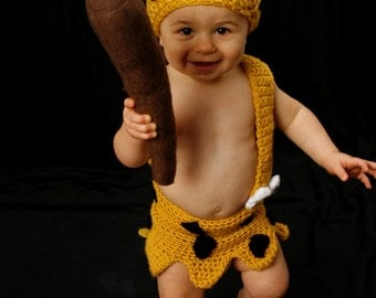 Crochet Baby Bamm Bamm Outfit Set - Made to Order - Great Photo Prop - One of a kind