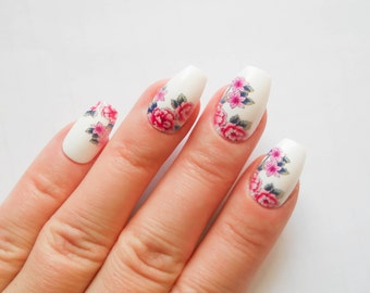 Flower Fake Nails, False Nails, Acrylic Nails, Press on, Nails, Retro, Vintage, Pretty, Coffin Nails, Flowers, Roses