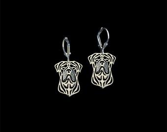Bull Mastiff earrings - sterling silver