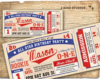 Baseball ticket invitation  - Baseball invitation - baseball birthday invite - boys invitation - DIY Printable invitation sports party