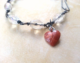 Red Heart Bracelet, Artisan Copper Crystal Clear Beads, Rosary Chain, Oxidized Silver Plate Beaded Links, Romantic Boho Chic, Chunky Jewelry