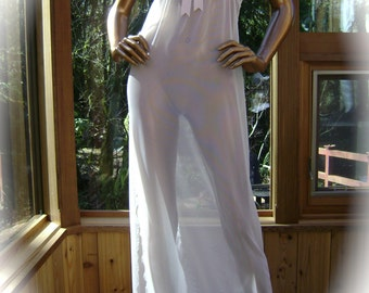 Cream Mesh Nightgown with Hand Embroidery and Silk Trimings