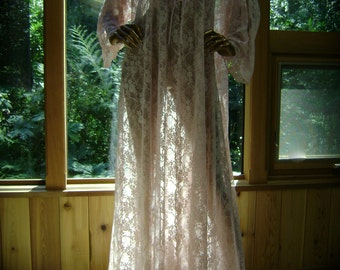 Lingerie Robe Nightgown in Tea Rose Floral Lace Mesh Hand Embroidered