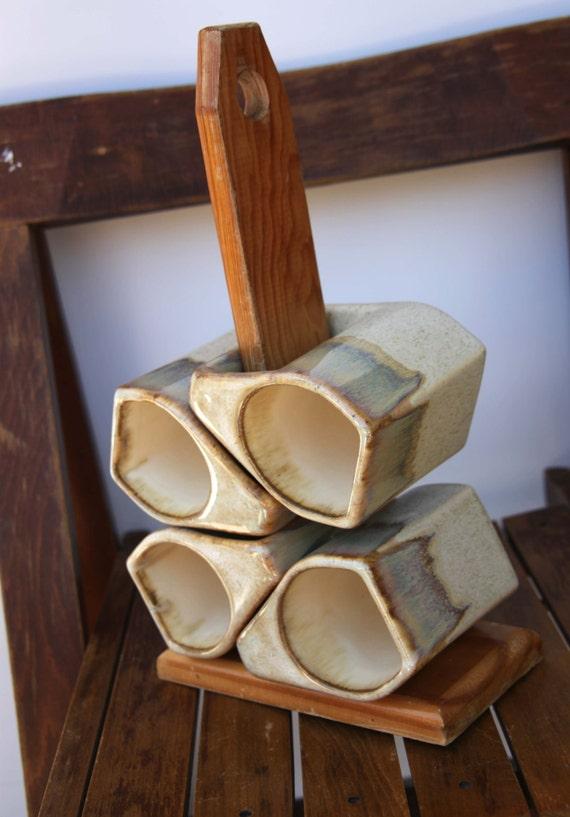 Stacking Stoneware Mug Tree Set Hand Made Coffee Mugs Speckled