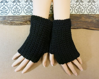 Crochet Fingerless Gloves, Wrist Warmers, Black Arm Warmers, Wool Mittens, School Student Gloves, Australia, Nchanted Gifts