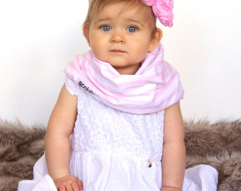 "Modern Bib (Pink/White Stripes) All in One Scarf & Bib ""Scabib"" TM for babies or toddlers"