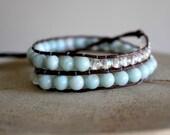 Amazonite Beaded Wrap Bracelet - Boho Bracelet Wrap - Amazonite Bracelet - Wrap Bracelets Mint Jewelry