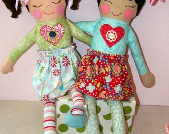 "Cloth doll pattern "" Love Button Dolls"" PDF"