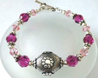 Swarovski Crystal Bracelet, Beaded Jewelry, Flower Jewelry, Pink Crystal Bracelet, Crystal Jewelry, Silver Flower