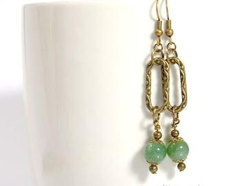 Dangle Earrings - Green Bronze Earrings