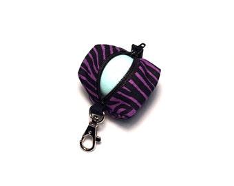 EOS style lip balm holder zipper pouch with clip - for circle or egg shape lip balms - Purple Zebra
