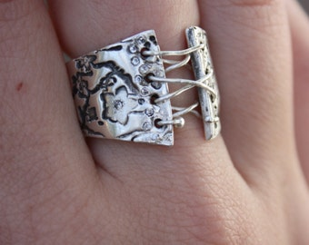 Antiqued Silver CZ Blossom Corset Ring