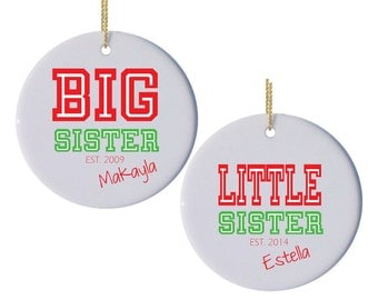 Personalized Christmas Ornaments Big Sister Little Brother with College Lettering