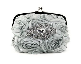Grey Silk Bridal Clutch w/ stunning Swarovski Crystal Accent, Bridal Clutch, Evening Bag