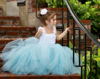 Full length light blue tutu skirt. Long tutu.