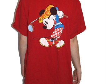 SALE Rare Vintage Mickey Mouse Embroidered Golfing T-Shirt