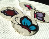 Butterfly Hanji Paper Magnets Colorful Butterflies Zen Asian Decor Handmade (set of 4) - HanjiNaty